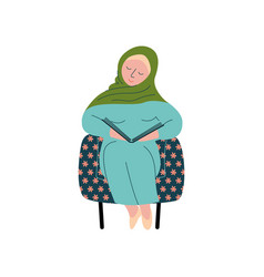 Muslim woman in hijab sitting in armchair and vector