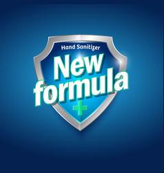 New formula logo sanitizer gel antiseptic shield vector