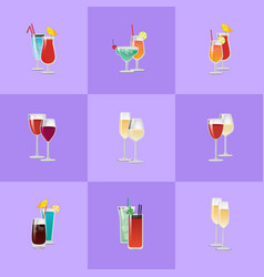 pair of cocktails elite classical and exotic drink vector image