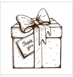 Present box with thank you text vector image