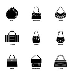 Purse icons set simple style vector