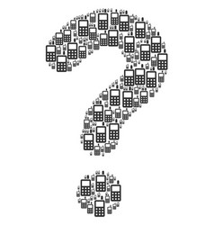 question figure of cell phone icons vector image