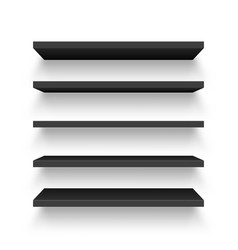Realistic black wall shelf collection isolated on vector
