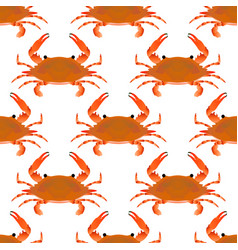 red crab seamless pattern flat gradient sea food vector image