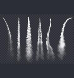 Rocket smoke jet airplane trail realistic vector