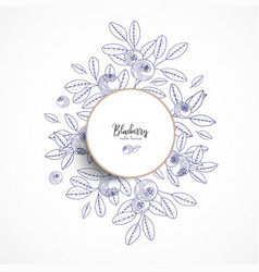Round banner with blueberry vintage banner vector