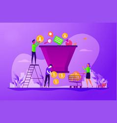 sales funnel management concept vector image