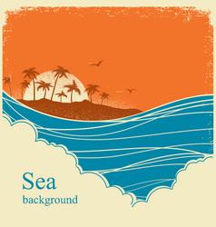 sea wavesseascape horizon on old vintage poster vector image