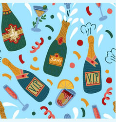 Seamless pattern with bottles champagne and vector