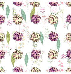 Seamless pattern with pink and yellow hydrangea vector