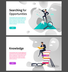 searching for opportunities and knowledge web page vector image