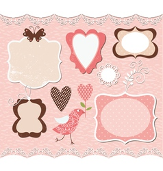 set cute romantic frames vector image