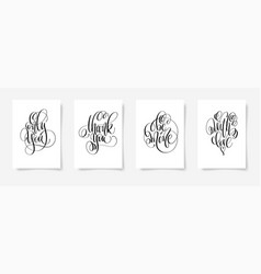 set of 4 hand lettering posters to valentines day vector image
