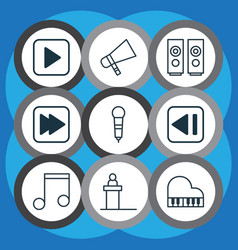 set of 9 audio icons includes last song bullhorn vector image