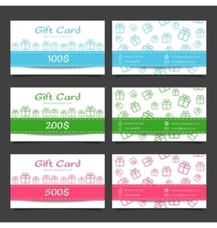 Set of gift cards Discount certificate template vector