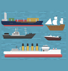 Ship cruiser boat sea symbol vessel travel vector