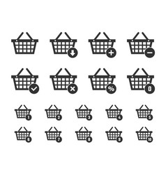 shopping basket icon set shopping trolley signs vector image