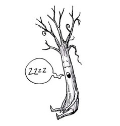 Sleeping Tree Cartoon vector