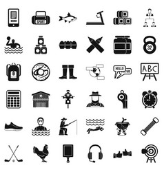 Sporting activity icons set simple style vector