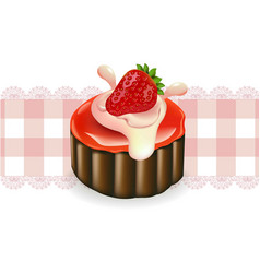 strawberry cake on a vintage pattern vector image