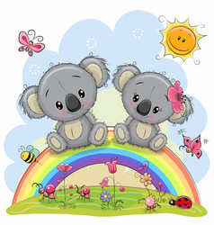 Two koalas are sitting on the rainbow vector