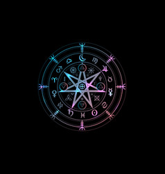 wiccan symbol protection mandala witches runes vector image