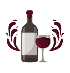 wine bottle glass cup splashes vector image