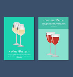 Wine glasses summer party posters alchohol drink vector
