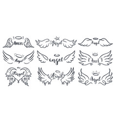 wings hand drawn lettering doodle elegant angel vector image
