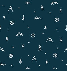 Winter mountain seamless pattern christmas snow vector