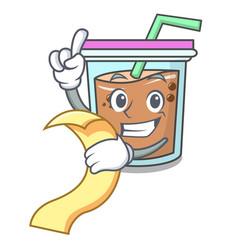 With menu bubble tea mascot cartoon vector