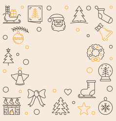xmas holiday square creative outline frame vector image