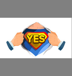 Yes sign superhero open shirt with shield vector
