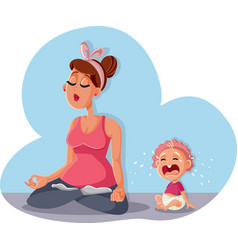 zen mom relaxing in yoga pose and bacrying vector image