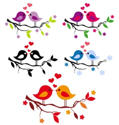 cute birds with red hearts on tree set vector image