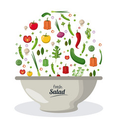 fresh salad bowl dish menu food natural image vector image vector image