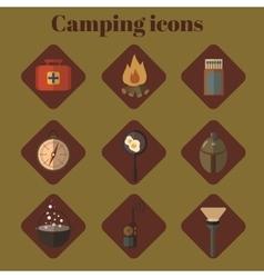 Icon set Flat design Camping vector image