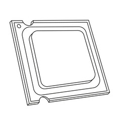 Central processing unit icon in outline style vector