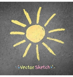 Chalk drawing of sun vector image vector image