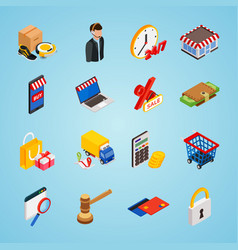 Electronic commerce isometric icon set with vector