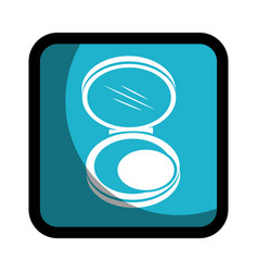 square button with face powder beauty product vector image