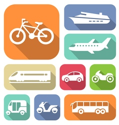 White travel transport flat icons set vector image vector image
