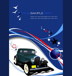blue business background with retro car image vector image vector image
