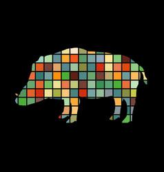 boar wildlife color silhouette animal vector image