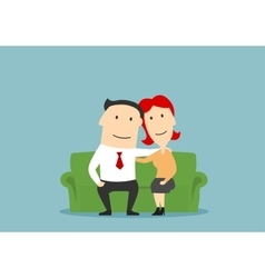 Family couple sitting on sofa and hugging vector image vector image