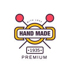 handmade premium logo template since 1935 retro vector image vector image
