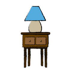 lamp light in wooden table wooden furniture vector image vector image