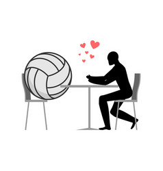 lover volleyball ball and guy in cafe lovers in vector image