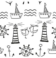 Sea seamless pattern Hand-drawn Doodles vector image