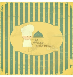 Vintage Menu Card with chefs on striped background vector image vector image